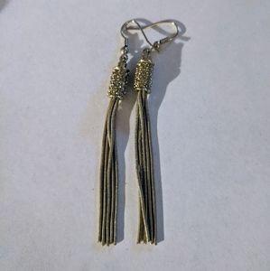 Lia Sophia silver rope CZ dangle dressy earrings
